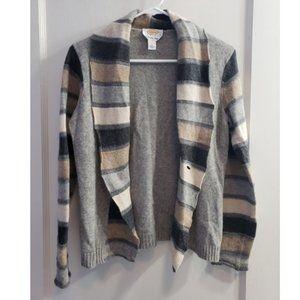 Talbots Petites Knit Cardigan Sweater ColorBlock P